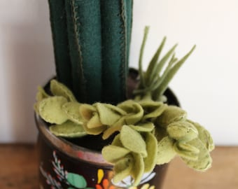 Light and Dark Green Felt Succulent Plant in Vintage Flower Tin // Holiday Christmas Gifts for Her // Fake Plants // Home Decor // Cactus