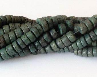 "Betel Nut Beads Salwag rondelle dark green 16"" strand"