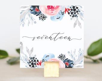 Navy Wedding Table Number Card - Floral Wedding Table Number - Reception Table Printable - Table Numbers Wedding - Table Numbers for Wedding