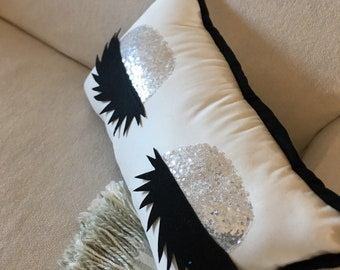 Silver sequined eyelash pillow