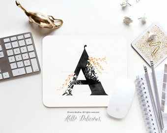 Monogram Mouse Pad Mousepad Floral Watercolor Mouse Mat Geometric Mouse Pad Office Mousemat Rectangular Personalized Mousepad Round 07.