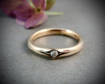 raw diamond princess and the pea ring .. solid 14k gold