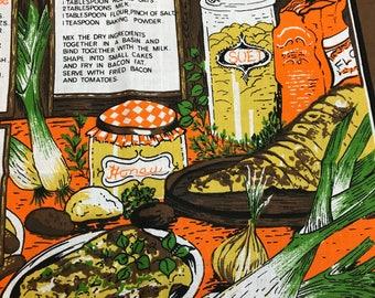 Welsh Recipes tea towel / vintage kitchen towel / autumn harvest kitchen towel / linens