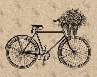 Vintage Bicycle Bike Basket Flowers image Instant Download printable Vintage picture clipart digital graphic for transfer decor print 300dpi