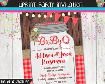 Baby Q Invitation - BBQ Baby Shower Invitation - Rustic Wood Mason Jar - Baby Shower