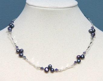 Tanzanite Purple Pearl with Silver Twist Necklace