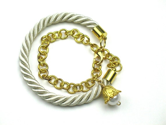 Wrap Rope Bracelet in Beige with Gold Chain and TierraCast Stamping Disc or Pearl Charm, Personalized Gift