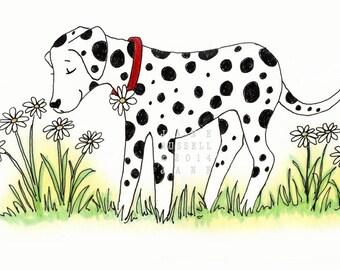SALE! Daisy Dalmation Illustration Children's 8x10 Art Print