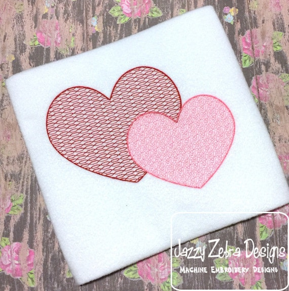 Double Hearts motif filled embroidery design - Valentines day embroidery design - Valentine embroidery design - heart embroidery design