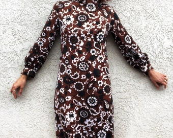 60's mod Psychedelic floral print long dress