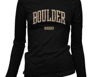 Women's Boulder Colorado Long Sleeve Tee - S M L XL 2x - Ladies' Boulder T-shirt - 3 Colors