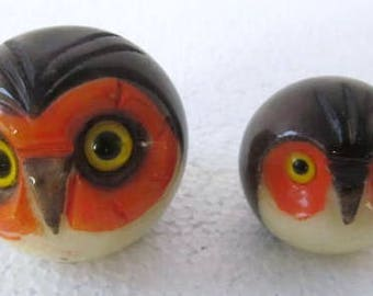 2008 Handmade & Painted Alabaster Solid Big Eyed Owls Heads Paperwights by Ducceschi Made In Italy