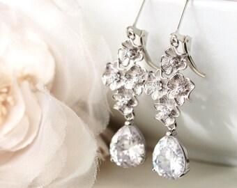 Bridal Earrings Crystal Drop Earrings Wedding Earrings Silver Flower Earrings Cherry Blossom Dangle Earrings Romantic Wedding Jewelry