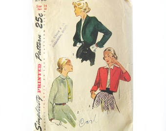 Vintage Sewing Pattern - Bolero Jacket Pattern / Corpped Jackets / 1940s Pattern Simplicity 2780 / Size 14