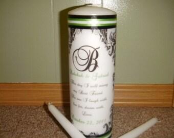 Damask Wedding Unity Candle Set with Verse and Gems