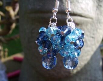 Crystal Cluster Earrings. Blue Cluster Earrings. Beaded Cluster Earrings.Smokey Blue, Turquoise And Blue Earrings. Glass Earrings. Sparkly.