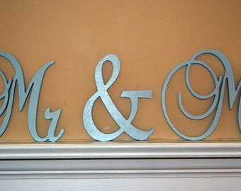 Mr & Mrs - Custom painted wooden wedding letters-Home decor- wall hanging- monogram letters- Photography prop
