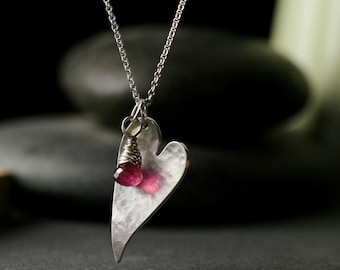 Large hammered heart pendant with ruby briolette wire wrapped charm