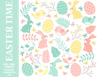 Easter Clipart - Rabbits, Easter, Branches, Doodle, Flowers, Easter Eggs Clipart