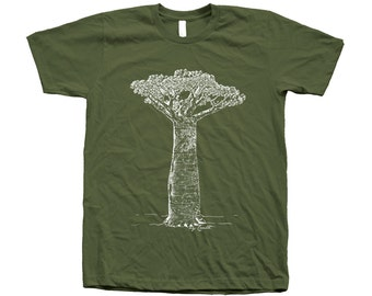 Baobab Tree Tshirt Hand Screen Print American Apparel Crew Neck T shirt Available: S,M,L, Xl, Xxl