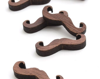 Mustache Charms in Black Walnut Wood - Itsies - Laser Cut Wood Mustaches . Timber Green Woods Sustainable Forestry Products Made in the USA!