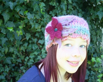 Angora Crochet Hat with Large Felted Flower- Pink and Burgundy- Magenta Rainbow