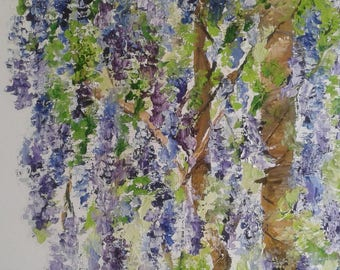 "Palette knife oil painting ""Wisteria"""