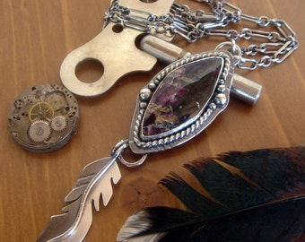 Eudialyte Feather Necklace | Artisan metalwork | Sterling silver | Feather charm | bohemian necklace | Long stone pendant