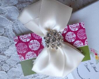 Ivory Satin Hair Bow with Rhinestone Center, Sparkle Flower Girl Hair Bow, Hair Bow, Christmas Hair bow, Pageant Hair Bows