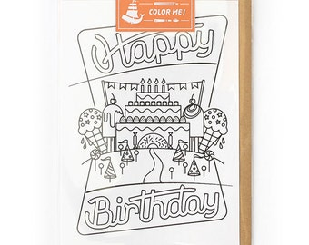 B Day cards, Coloring Card, Birthday Card BFF, Birthday Card, Modern Card for Him or For Her