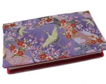 Checkbook holder in Japanese crane purple - checkbook high heel, horizontal checkbook, protects fabric checkbook, women gift