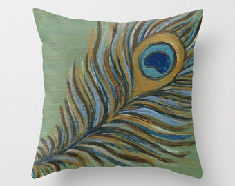 Peacock Feather Art Pillow Cover 16x16, 18x18 or 20x20