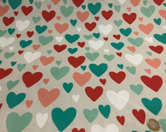 Printed With Colored Heart Pattern , Duck Fabric