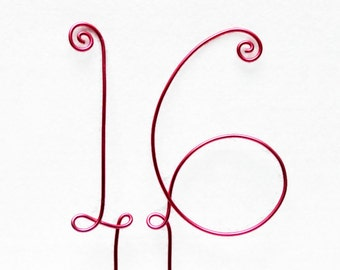 Sweet 16 Birthday Wire Cake Topper Any Number Quinceanera 15 Sweet Sixteen Pink, Gold, Brown, Black, Red, Silver