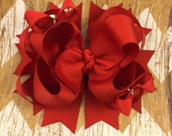 Hair bow / red / layered