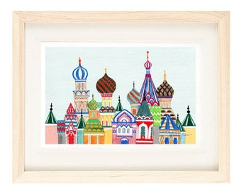 MOSCOW, RUSSIA - 5 x 7 Colorful Illustration Art Print, Red, Brown, Blue, Wall Decor, Red Square