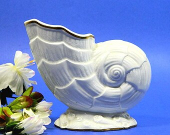 Antique Georgian Porcelain Spoon Warmer Nautilus Shell