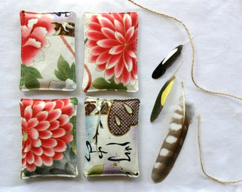 Japanese Floral Lavender Sachets -  Set of 2 - Lavender Pillows - Mother's Day Gift - Drawer Sachet Aromatherapy