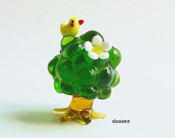 Fairy Garden Miniatures, Handmade Lampwork Glass Miniature Tree with Bird and Flower, Miniature Tree, Fairy House, Tree Miniature