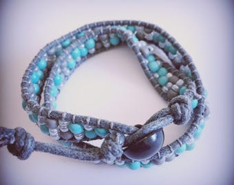 Gray and turquoise bracelet