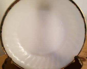 Vintage Fire King Milk Glass Swirl with Gold Trim Bowl
