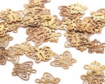 Brass Butterfly Charm, 100 Raw Brass Butterfly Charms (8x9mm) Y221