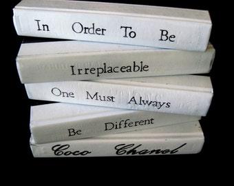 CoCo Chanel Books, Quote Books, Designer Books, Black and White, Chanel Books, Art Deco Books, Photography Prop, Custom Books, Unique Books