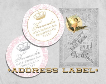 Princess Return Address Labels - Pink and Gold or Pink and Silver/Grey - Circle Label - 2 inch Round Sticker - Printed Envelope Seal