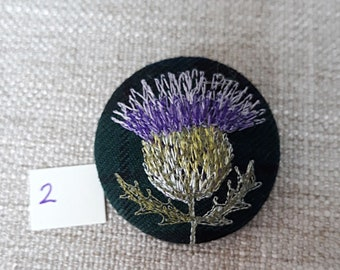 Scottish Thistle freehand machine embroidered brooch in Blackwatch tartan