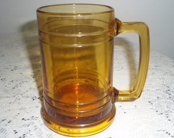 Amber Glass Stein, 16 ounce thick glass stein, Beer stein or Shake or Float Glass, Collectible barware or drinking stein
