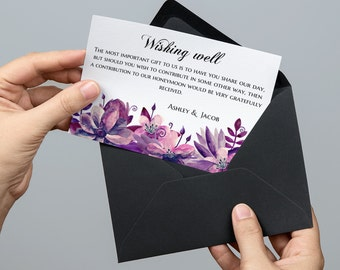 Wishing well cards Purple wedding Wishing well printable Digital download wishing well template Floral wedding Lavender template 1W63