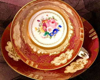 Stunning Crown Staffordshire Teacup and Saucer