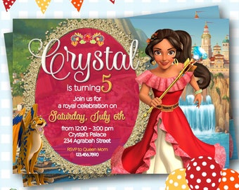 Elena of Avalor Invitation, Disney Princess Elena Invite - Elena of Avalor Birthday Invitations, Princess Elena Birthday Party - P50