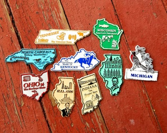 Set of 9 State Souvenir Magnets